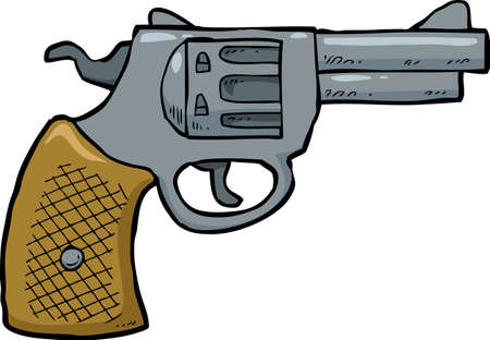 shots: Cartoon doodle revolver gun on a white background vector illustration