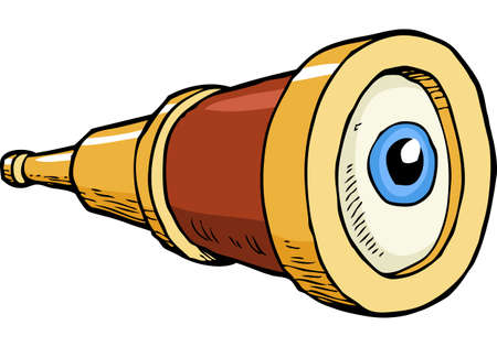 antique binoculars: Cartoon doodle spyglass with eye vector illustration