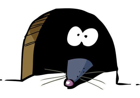 Cartoon mouse peeking out of a hole doodle vector illustration 일러스트