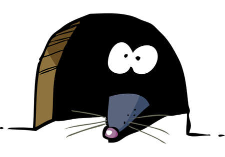 Cartoon mouse peeking out of a hole doodle vector illustration Vectores