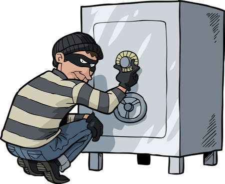 bank robber: Cartoon thief safecracker breaks into a safe vector illustration