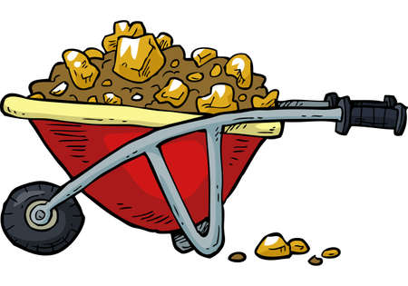 nuggets: Cartoon trolley with gold nuggets vector illustration