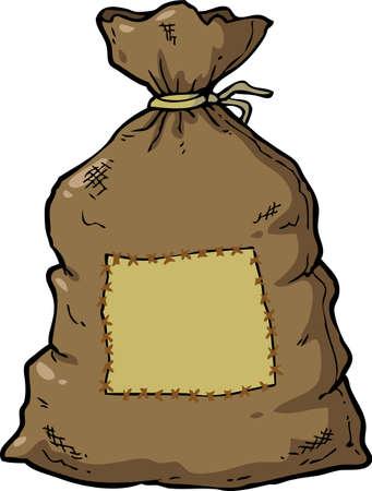 borsa di tela cartone animato Doodle su uno sfondo bianco illustrazione vettoriale Vettoriali