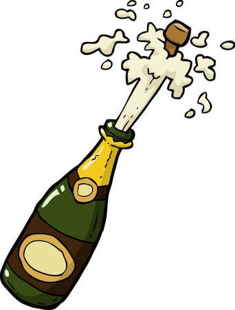 Cartoon doodle láhev šampaňského výstřel vektorové ilustrace Ilustrace
