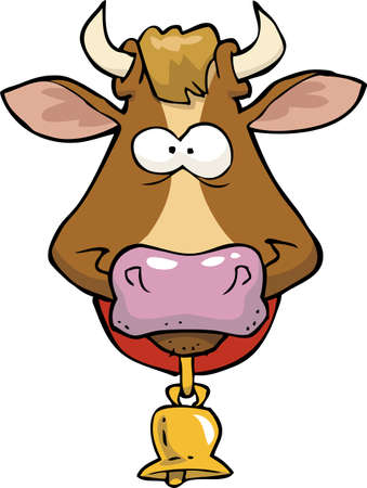 face  illustration: Cartoon doodle cow head on a white background vector illustration