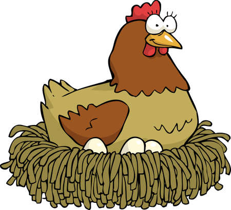 Cartoon hen incubates the eggs  vector illustration
