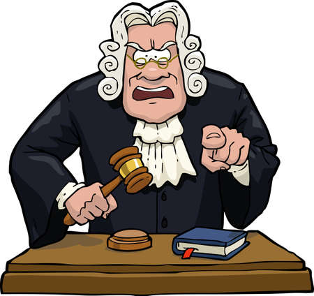 judge hammer: Cartoon judge accuses on a white background vector illustration
