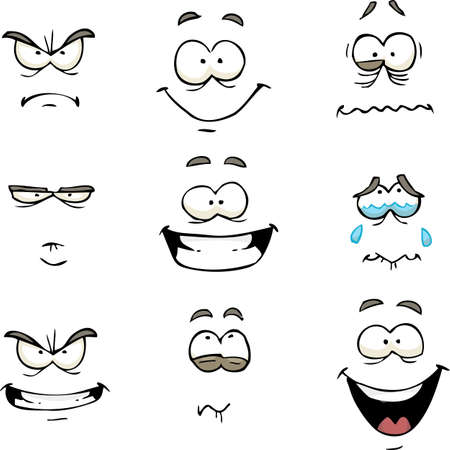 angry person: Cartoon doodle set comics face vector illustration