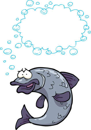 outline fish: Cartoon doodle fish bubbles on a white background vector illustration