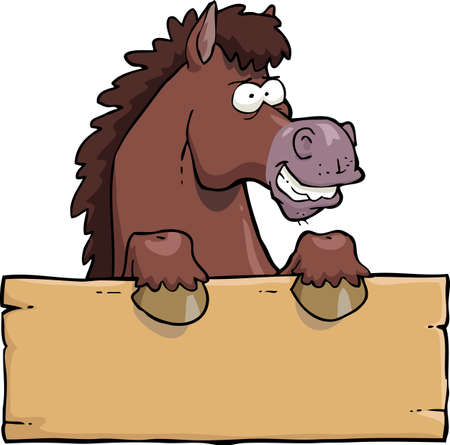 Cartoon horse head with a board  vector illustration