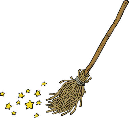 magical equipment: Cartoon magic broom on a white background vector illustration Illustration