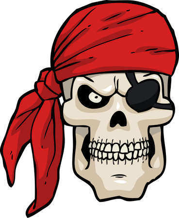 red heads: Cartoon pirate skull on a white background vector illustration Illustration