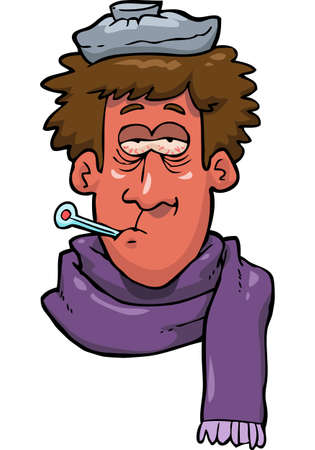 Cartoon doodle sick man head vector illustration