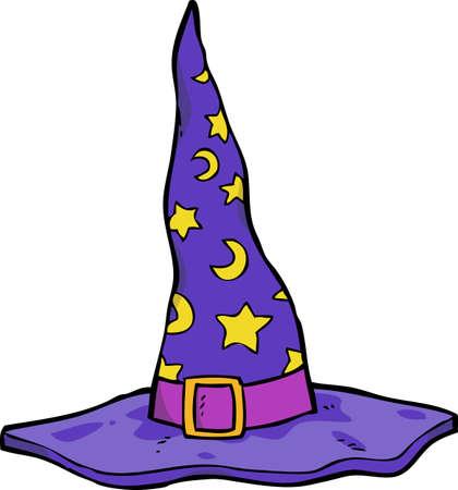 brujas caricatura: sombrero de mago bosquejo de dibujos animados sobre un fondo blanco ilustraci�n vectorial Vectores