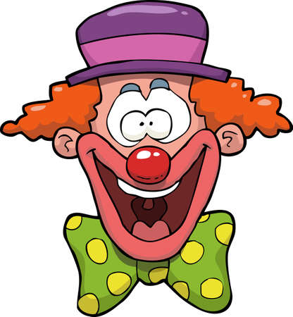 Cartoon doodle happy clown head vector illustration