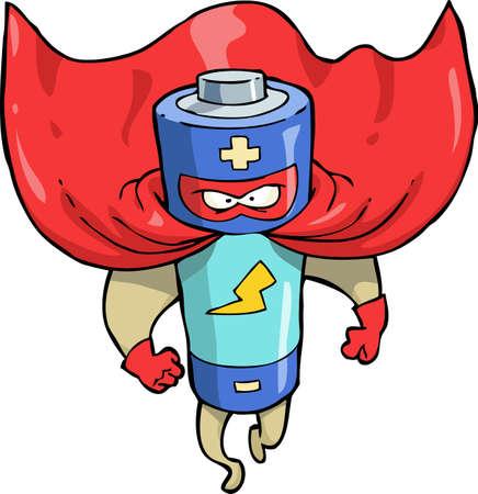 Cartoon doodle battery superhero on a white background vector illustration 일러스트