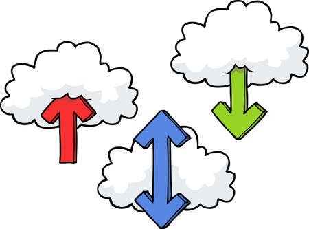 up arrow: Cartoon doodle clouds with arrows vector illustration Illustration
