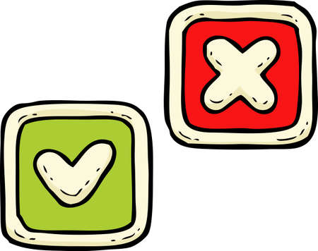 delete: Cartoon doodle delete and check button vector illustration
