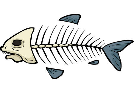 calavera caricatura: bosquejo de dibujos animados esqueleto de pescado sobre un fondo blanco ilustraci�n vectorial