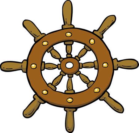 helm boat: doodle del timón de dibujos animados sobre un fondo blanco ilustración vectorial