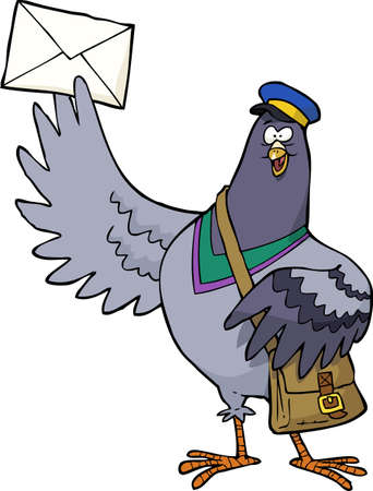 white letters: Cartoon post pigeon on a white background vector illustration Illustration