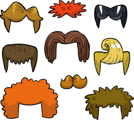 wigs: Cartoon doodle set wigs on a white background vector illustration