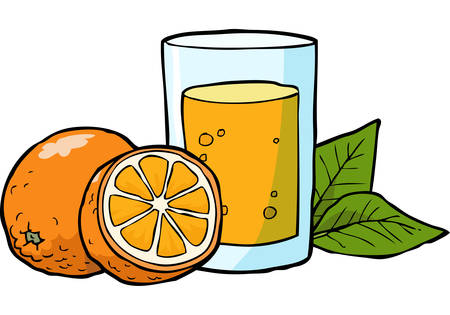 citrus fruit: Cartoon doodle fresh orange juice vector illustration