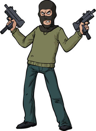 gunman: Gunman with an automatic weapon vector illustration