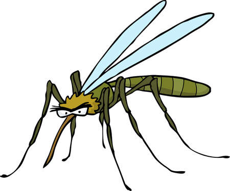 mosquitoe: Cartoon doodle mosquito on a white background vector illustration