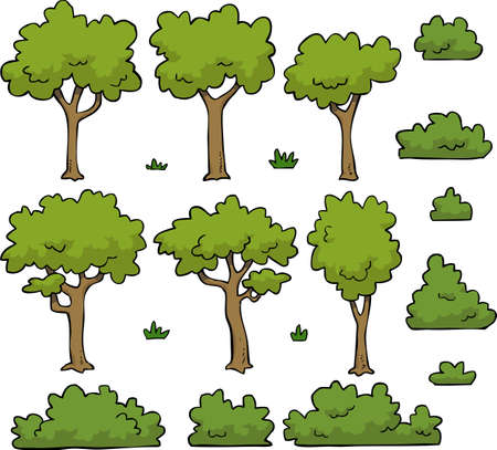 pine trees: Cartoon doodle set trees and bushes vector illustration