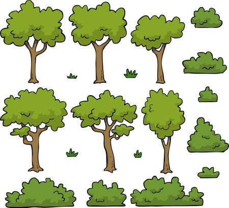 Cartoon doodle zestaw drzew i krzewów ilustracji wektorowych