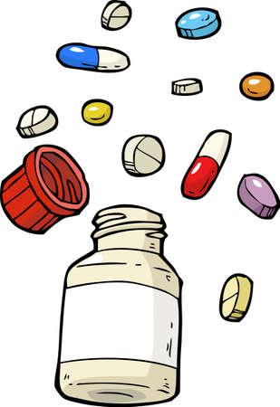 Cartoon doodle vial of pills assorted vector illustration Illustration