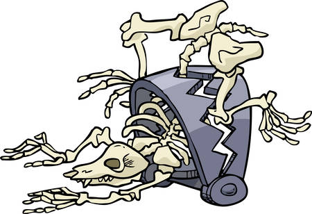 dying: Cartoon doodle animal trapped skeleton vector illustration