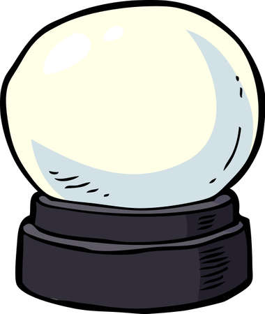fortuneteller: Cartoon doodle crystal ball on a white background vector illustration