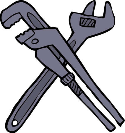 adjustable: Cartoon doodle two adjustable wrenches vector illustration