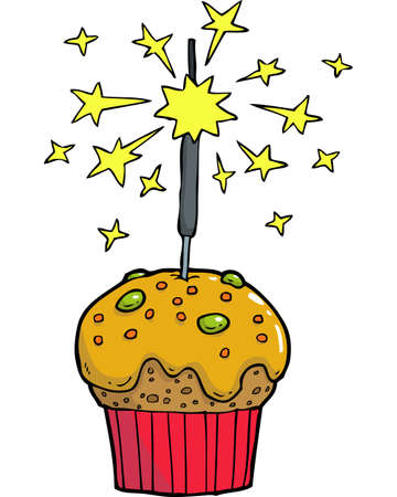 bengal fire: Cartoon doodle cake with bengal fire vector illustration Illustration