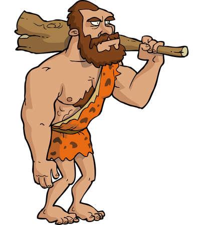 hombre prehistorico: cavernícola de dibujos animados con un club de ilustración vectorial