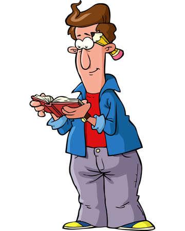 hombre caricatura: dise�ador de la historieta que lee una ilustraci�n del vector del libro Vectores