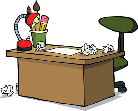 study table: Cartoon doodle designer table on a white background vector illustration