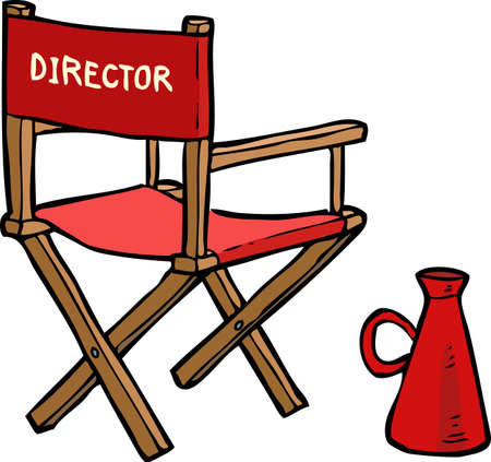 wood chair: Cartoon director chair with a megaphone vector illustration