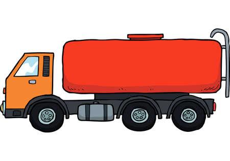 camión cisterna: De dibujos animados buque tanque de gasolina del doodle sobre un fondo blanco ilustración vectorial