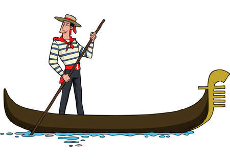 Cartoon gondolier on a gondola vector illustration