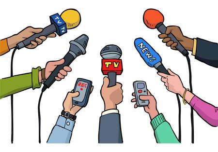 intervista media di cartone animato su uno sfondo bianco illustrazione vettoriale