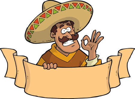 Cartoon mexican with a banner vector illustration