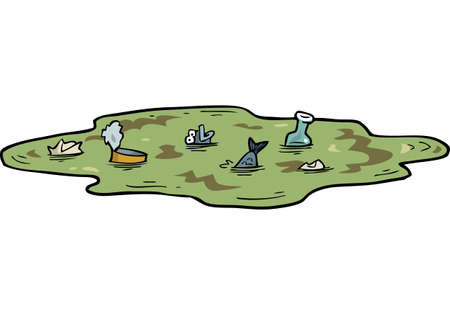 Cartoon doodle polluted pond with fish vector illustration