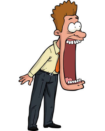 Cartoon shocked man with his mouth open vector illustration Çizim