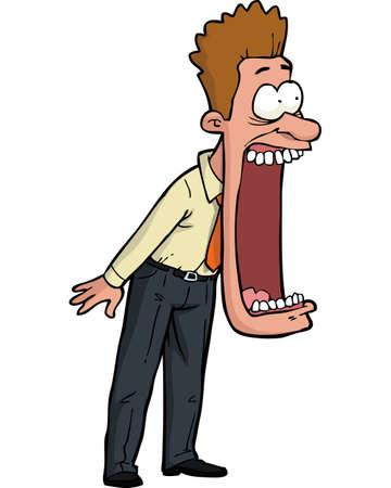 boca abierta: De dibujos animados conmocionado hombre con su boca abierta ilustración vectorial Vectores