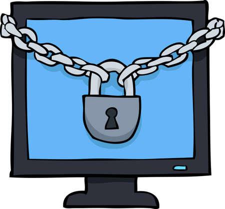 login: Cartoon doodle under the lock screen vector illustration