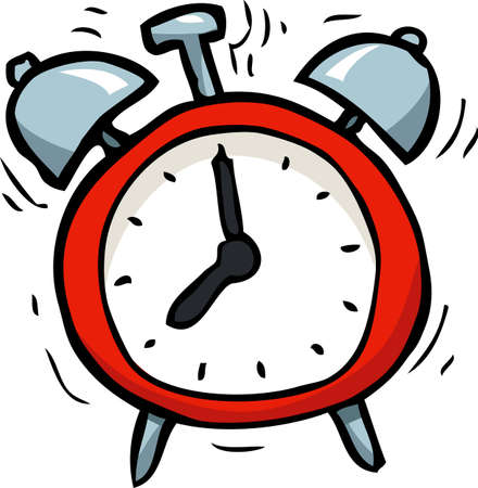 Cartoon doodle alarm clock on a white background vector illustration Ilustração