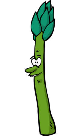 Cartoon doodle character asparagus on a white background vector illustration. Ilustração